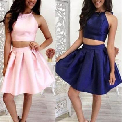 Cute Two pieces Jewel short Satin H..