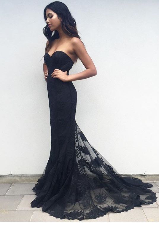 b18561924921 Charming Mermaid Sweetheart Black Lace Prom/Evening Party Dress with Sweep  Train