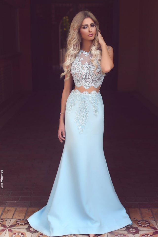 df51201fcf56 Sexy Two Pieces Mermaid Scoop Sleeveless Light Blue Satin Prom/Evening Dress  with Lace Appliques