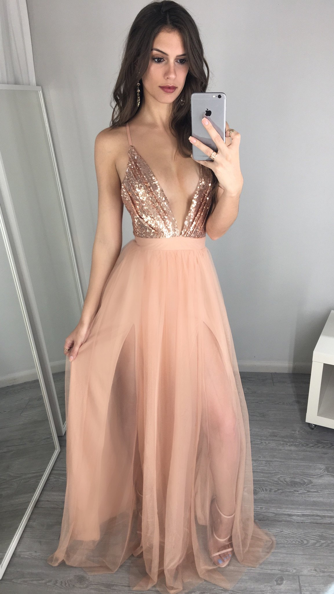 Sexy A-Line Deep V-Neck Backless Long Peach Pink Tulle Long Prom Evening  Dress with Sequins 64b935d8b