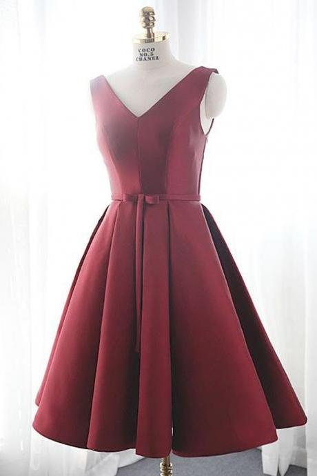 Simple A-Line V Neck Knee Length Burgundy Satin Homecoming Dress with Lace Up