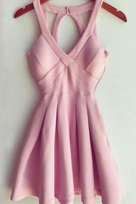 Stylish A-Line Deep V Neck Short Mini Pink Satin Homecoming Dress with Keyhole Back