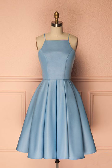 Simple A-Line Spaghetti Straps Short Mini Light Blue Homecoming Party Dress
