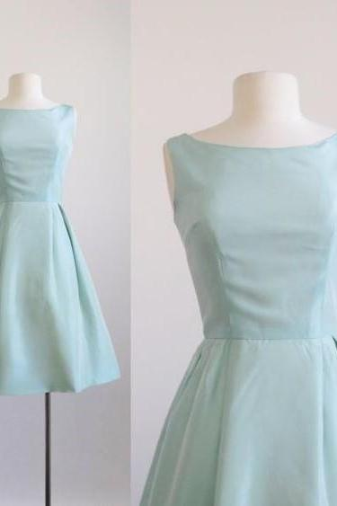 Modest A Line Bateau Sleeveless Short Light Blue Satin Homecoming Party Dress