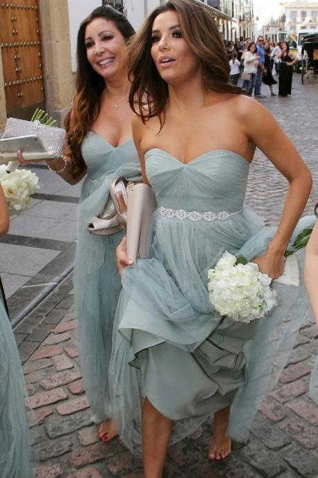 Classic A-Line Sweetheart Tulle Floor-Length Bridesmaid Dress with Beading
