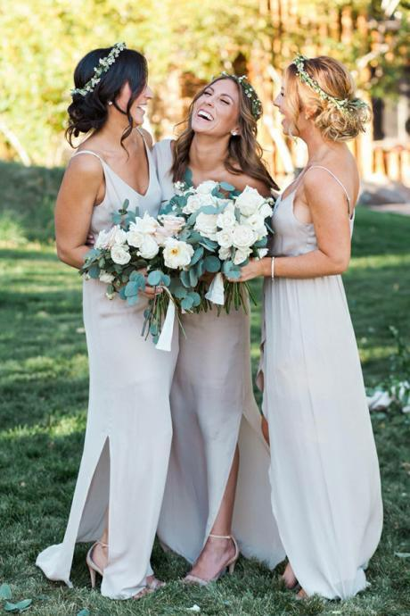 Sexy A-Line V-Neck Split-Side Grey Floor-Length Chiffon Bridesmaid Dress