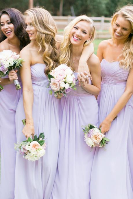 Country Style A-Line Sweetheart Chiffon Long Bridesmaid Dress with Pleats