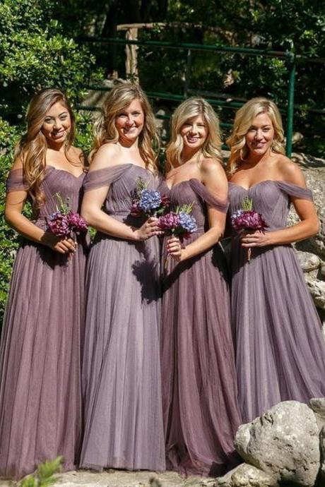 Chic A-Line Off-the-Shoulder Long Tulle Bridesmaid Dress with Pleats