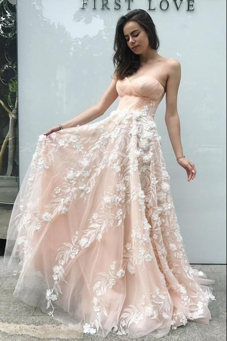 Beautiful A-Line Sweetheart Light Pink Tulle Long Prom Dress with Flowers
