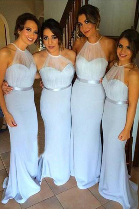 Elegant Mermaid Halter Sleeveless Sky Blue Satin Long Bridesmaid Dress with Sweep Train