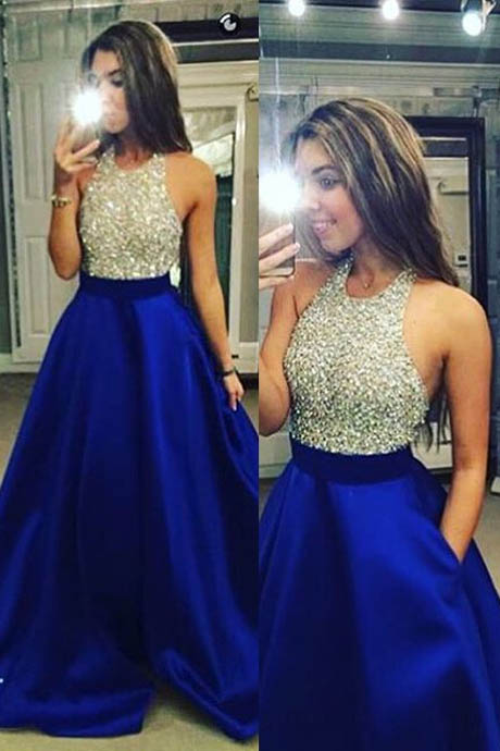 Sexy A-Line Halter Sleeveless Floor Length Satin Blue Backless Prom/Evening Dress With Beading