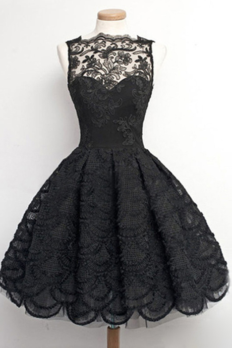 Fashion A-Line Bateau Sleeveless Knee Length Black Vintage/Homecoming Party Dress with Lace