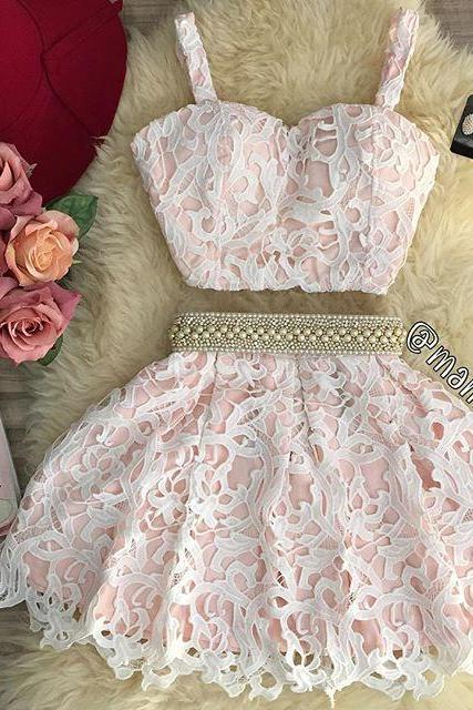 Simple Two Piece Sweetheart Mini Pink Lace Homecoming Dress with Pearls