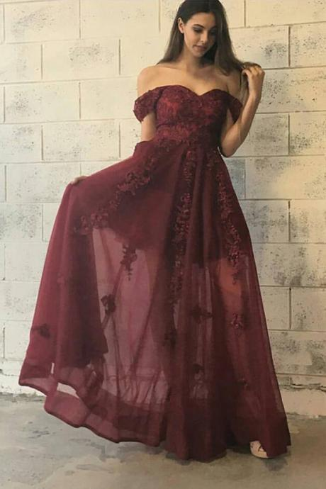 Modest A-Line Off-Shoulder Long Burgundy Tulle Prom/Evening Dress with Lace Appliques