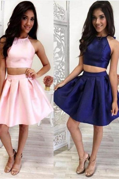 Cute Two pieces Jewel short Satin Homecoming/Party Dress