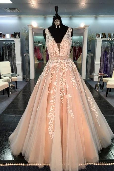 Charming A-Line Deep V-Neck Sleeveless Blush Pink Tulle Prom/Evening Dress with Beading and Appliques