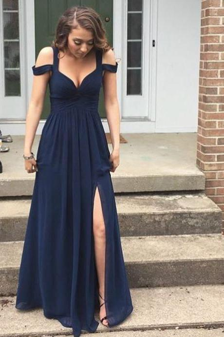 Elegant A-Line Straps Off-the-Shoulder Navy Blue Chiffon Long Prom/Evening Dress with Split-Side